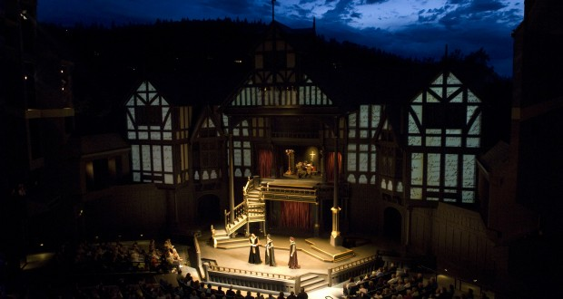 The outdoor Allen Elizabethan Theatre, which is modeled after the Fortune Theatre in London.