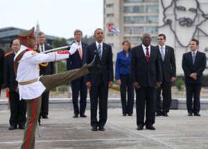 HAVANA, CUBA - MARCH 21: President Barack Obama stands with Salvador Sanchez Mesa, Vice President of the Council of Ministry, as they take part in a wreath laying ceremony at the Jose Marti memorial in Revolution Square on March 21, 2016 in Havana, Cuba. Mr. Obama's visit is the first in nearly 90 years for a sitting president, the last one being Calvin Coolidge. (Photo by Joe Raedle/Getty Images)